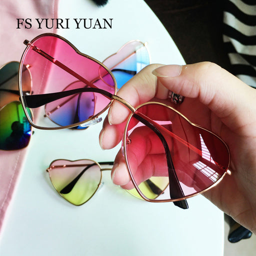 FS YURI YUAN Heart Shaped Sunglasses WOMEN Metal Frame Transparent Ocean Slice Lens Fashion Sun GLASSES lunette de soleil femme