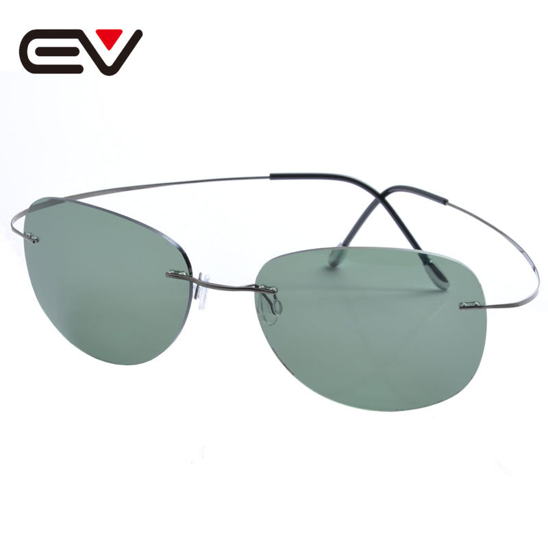 Fashion Men Women Titanium Rimless Coating Polarized Sunglasses Brand Designer Sport Outdoor Sun Glasses oculos de sol EV1357
