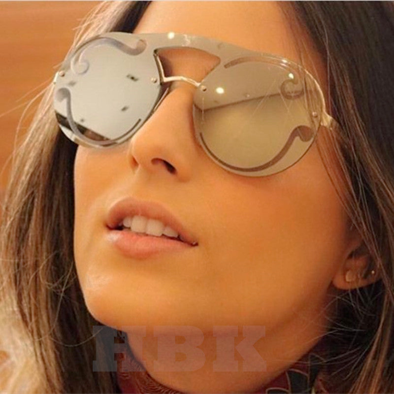 HBK New Oversized Gold Clear Cool Round Sunglasses Women Large Size Sun Glasses Italy Brand Designer Female Ladies oculos de sol