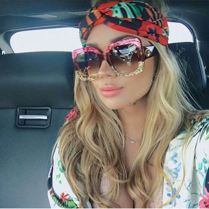 HBK New Sunglasses -Women Square Oversized Sunglasses Women Fashion Sun Glasses Lady Brand Designer Vintage Shades Gafas Oculos