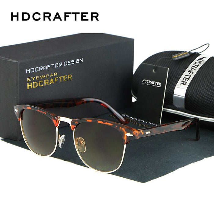 HDCRAFTER Classic Half Metal Sunglasses Men Women Brand Designer Glasses Sun Glasses Fashion GafasUV400