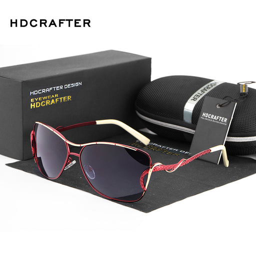 HDCRAFTER sunglasses women polarized vintage butterfly Fashion Ladies Sun Glasses Female Gradient oversized women sunglasses