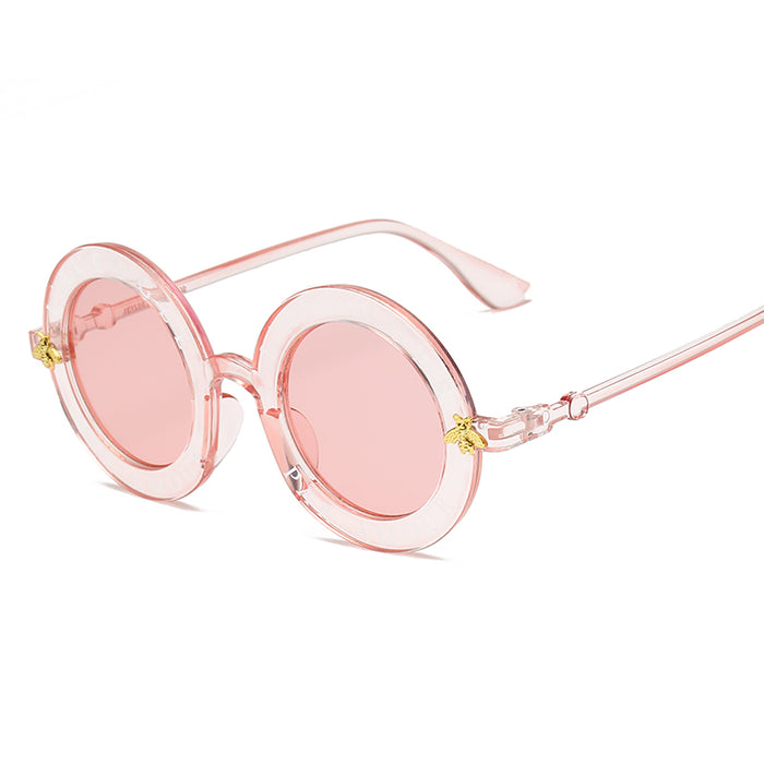 HJYBBSN Retro Round Sunglasses English Letters Little Bee Sun Glasses Men Women Brand Glasses Designer Fashion Male Female