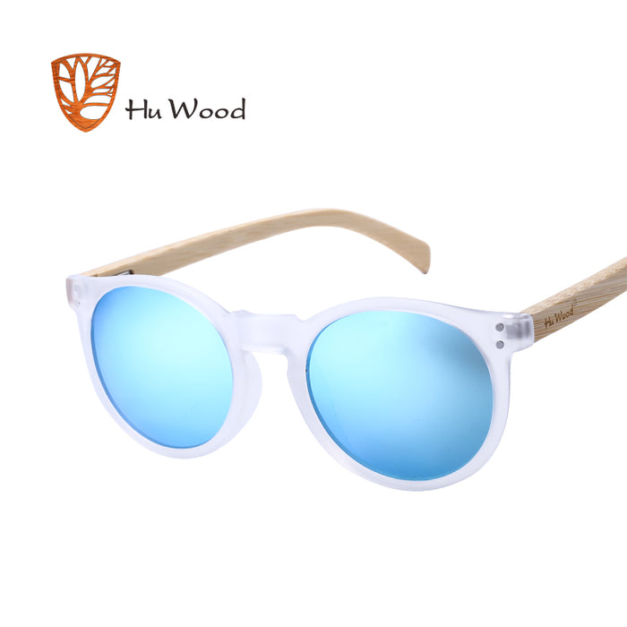 HU WOOD Brand Designer Polarized Sunglasses Men Plastic Frame Wood Earpieces Fashion Oval Sun Glasses Mirror Lens UV400 GR8003