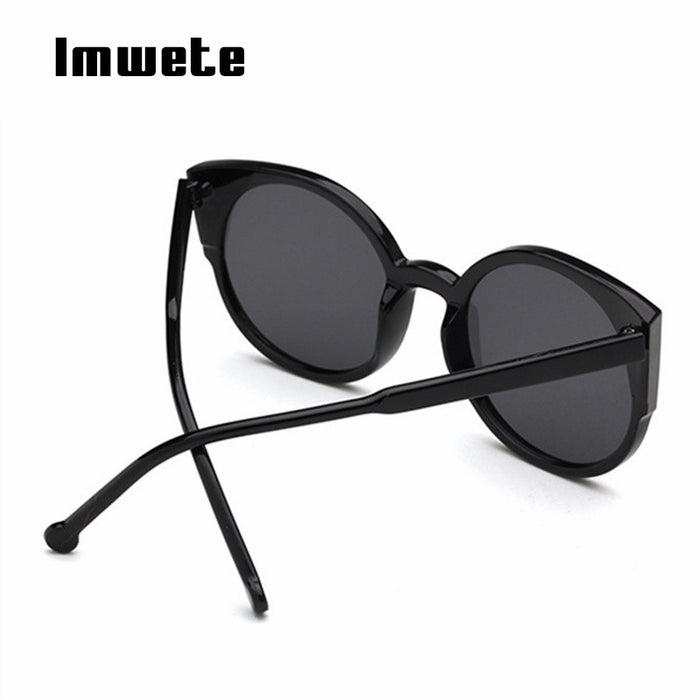 Imwete Brand Cat Eye Sunglasses Retro Coating Reflective Mirror Sun Glasses Cateyes Sunglasses For Ladies Driving Goggles UV400