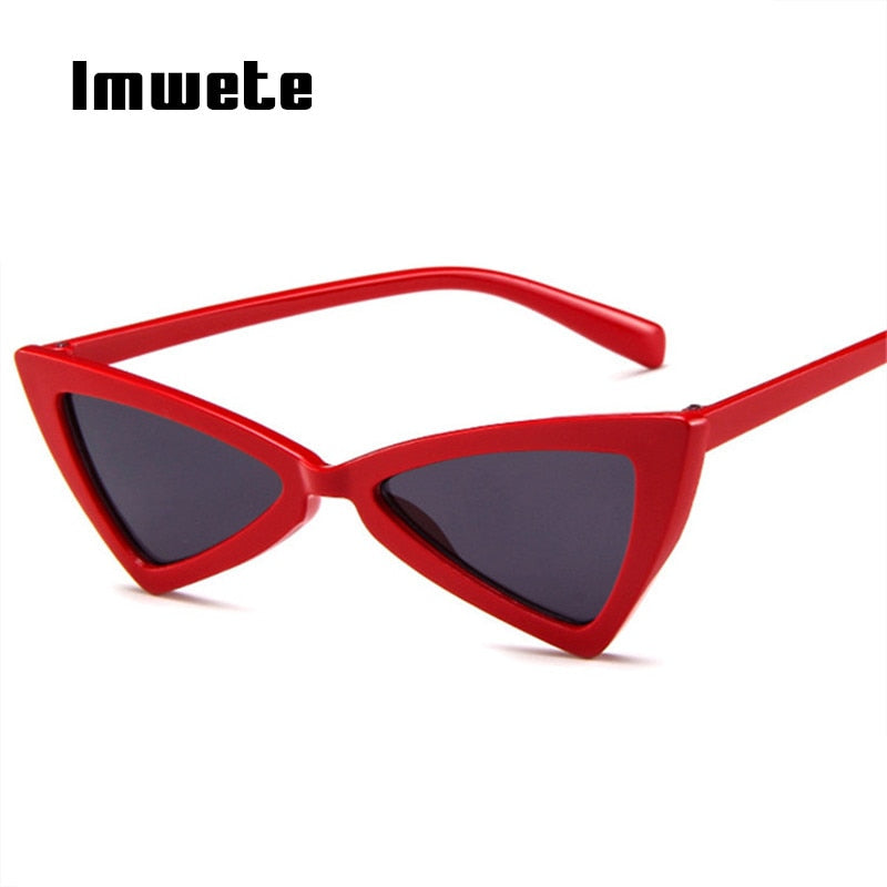 e6447e08d5 Imwete Cat Eye Sunglasses Women Vintage Brand Designer Female Triangle Butterfly  Sun Glasses Retro Small Size