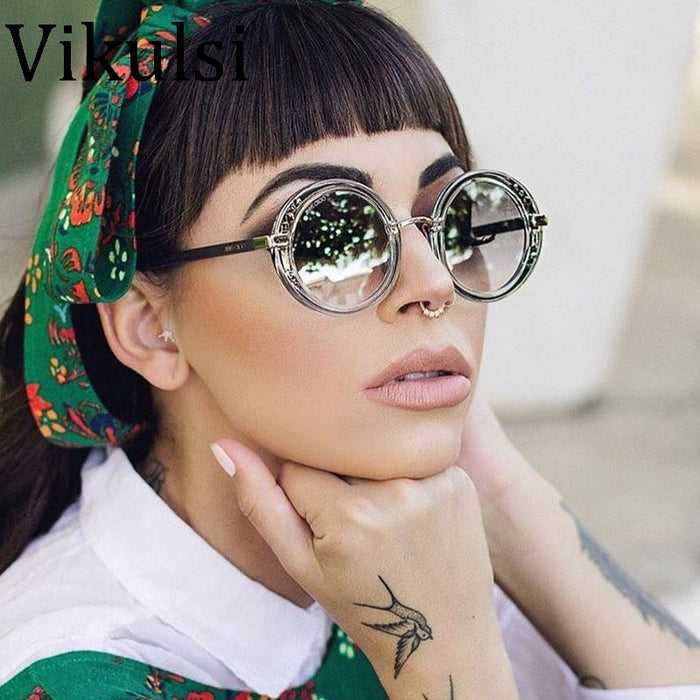 Italy Luxury Round Sunglasses Brand Designer Ladies Oversized Mirror Sunglasses Women Diamond Sun Glasses Female Oculos De Sol