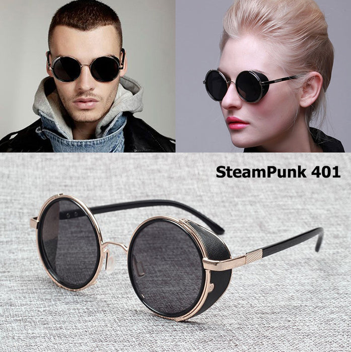JackJad Fashion VINTAGE Retro Round STEAMPUNK Rock Sunglasses Side Cover Men Women Brand Design Sun Glasses Oculos De Sol