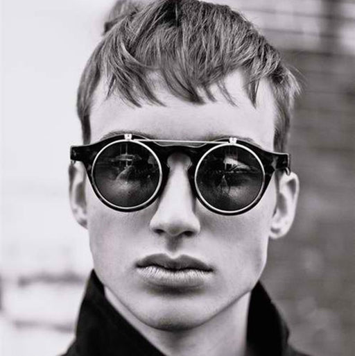 e15e56f236d92 JackJad 2018 Fashion Vintage Round SteamPunk Flip Up Sunglasses Classic  Double Layer Clamshell Design Sun Glasses