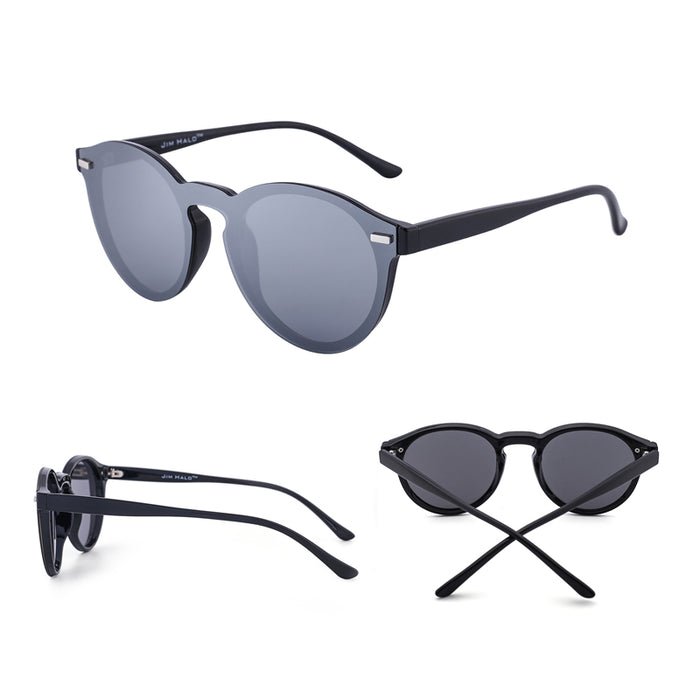 Jim Halo One Piece Polarized Rimless Club Round Sunglasses Flash Mirrored Circle Lens Retro Vintage Sun Glasses Fashion