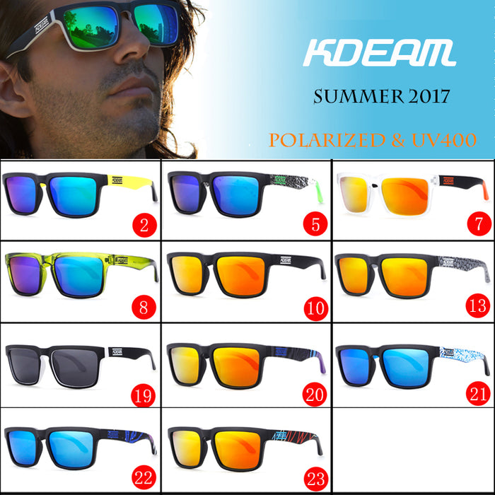 KDEAM Sport Sunglasses Men Polarized HD lens zonnebril mannen Square Sun Glasses Women Eyewear 11 Colors UV400 With Case KD901P