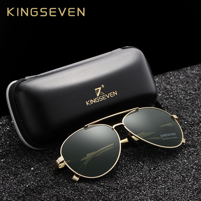 KINGSEVEN New Aviation Gun Gradient Sunglasses Brand Men Design Sun glasses Polarized HD Aluminum Driving Oculos N7228