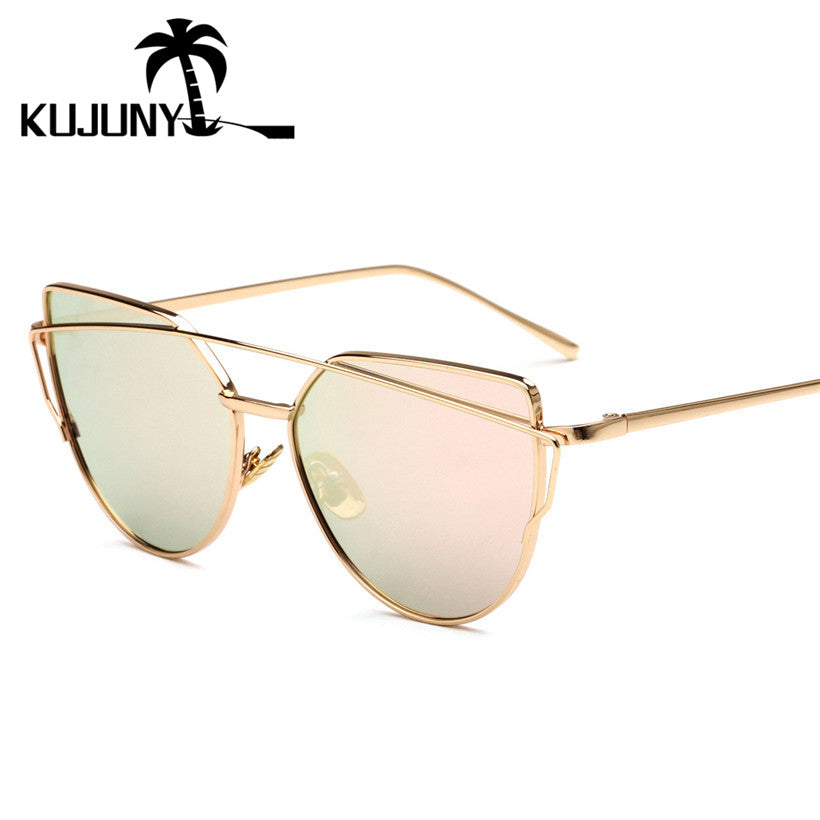 KUJUNY Metal Frame Cat Eye Sunglasses for Women Twin-Beams Design Sunglass Vintage Mirror Cateye Eyewear Goggles Eyeglasses