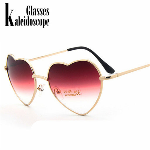 Realistic Heart Shaped Sunglasses Woman Lovely Shades Sun Glasses For Women Candy Color Metal Frame Girl Sunglass Mirror Lunette Soleil Women's Sunglasses Apparel Accessories