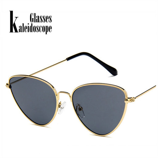 Kaleidoscope Glasses Metal Cat Eye Sunglasse Women Triangle Sun glasses Female Black Yellow Pink Red Lens Cateyes Glasses UV400