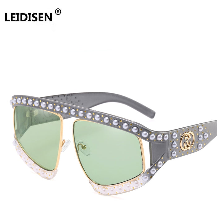 LEIDISEN Women Luxury Pearls Big Frame Sunglasses Female New Brand Rivets Sun Glasses Ladies Fashion Shades Unisex Oculos