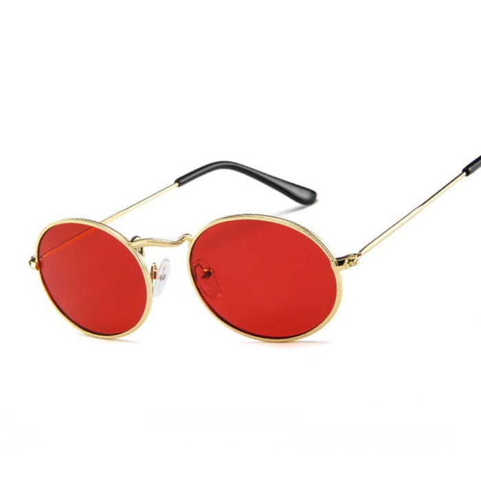 Ladies Classic Red Lense Reflective Oval Sunglasses Women Men Retro Metal Frame Wrap Coating Mirror Sun Glasses for Female