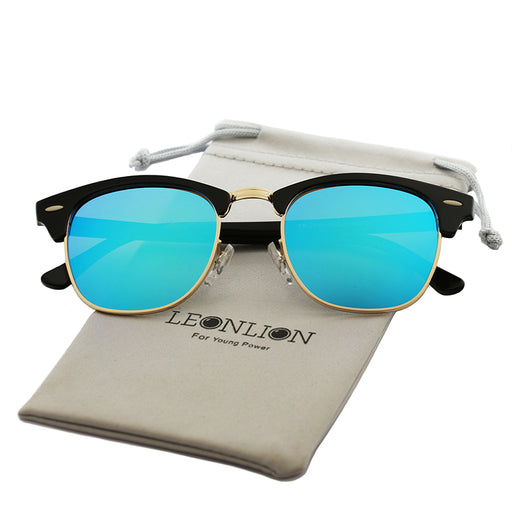 LeonLion Vintage Semi-Rimless Brand Designer Sunglasses Women/Men Polarized UV400 Classic Oculos De Sol Gafas Retro Sun Glasses