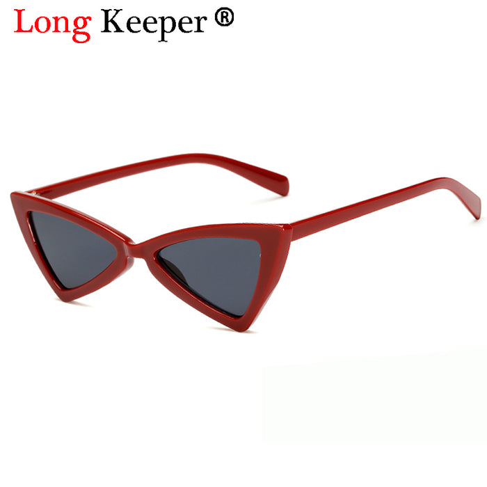 Long Keeper Men Red Triangle Sunglasses Sexy Women Small Cat Eye Ladies Sexy Glasses Vintage Tint Lens Sun Glasses Shades
