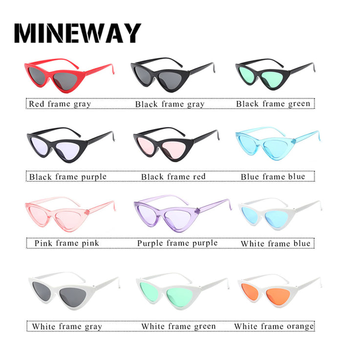 MINEWAY Brand Designer Sunglasses Women Vintage Cat Eye Sexy Small Frame Cute Retro Sun glasses Female Oculos de sol UV400