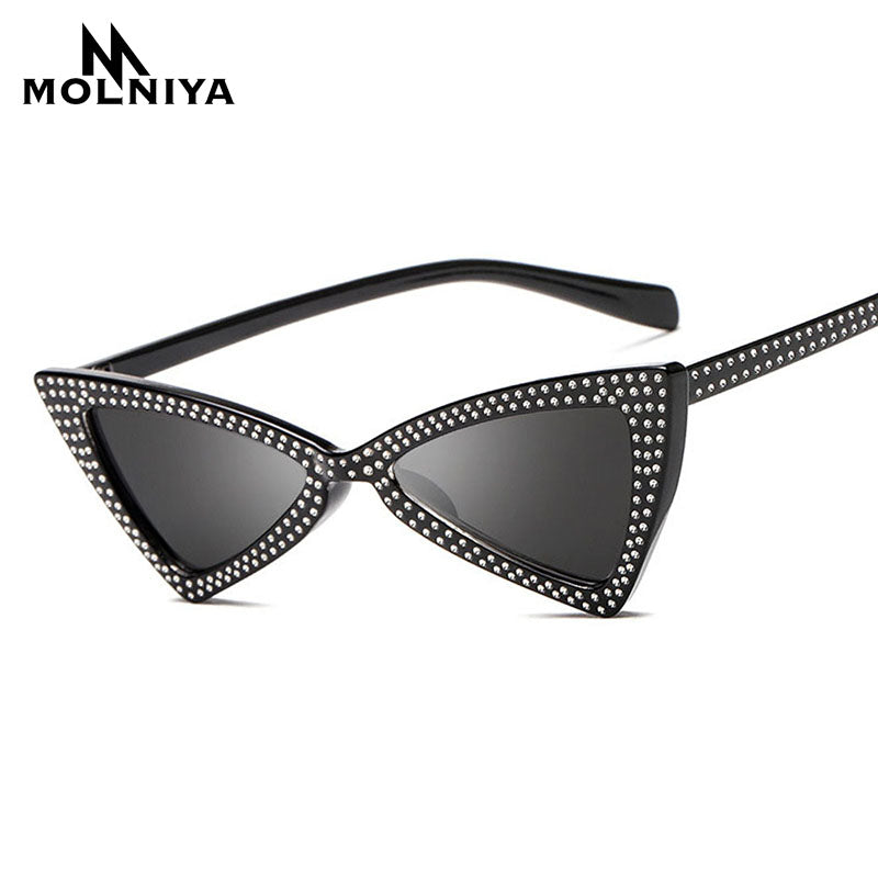 MOLNIYA Small Triangle Sunglasses Women Luxury Brand Cat Eye Sun glasses Ladies Black Fashion Shades oculos feminino