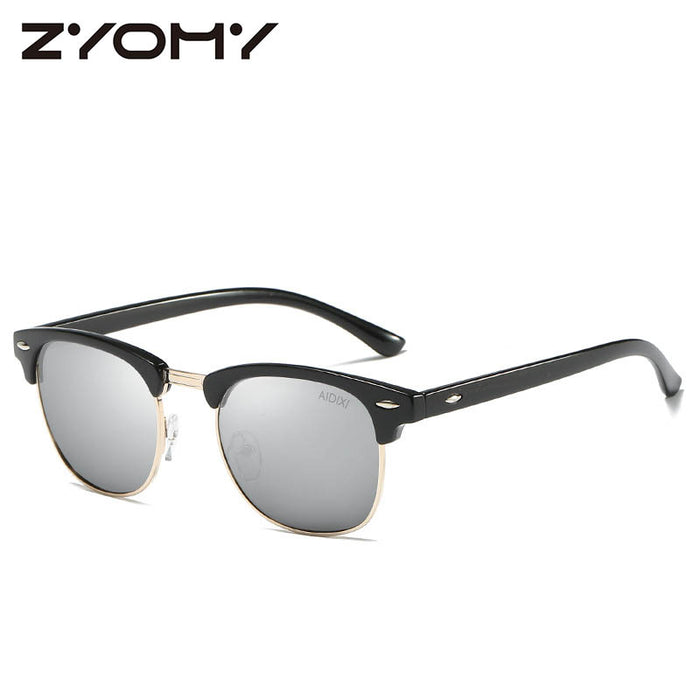 Men/Women Polarized Sunglasses Semi-Rimless Retro Sun Glasses Polarized Brand Designer Vintage Oculos De Sol Classic UV400