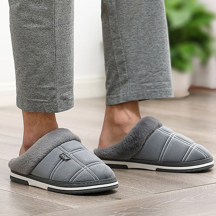 Men's slippers Winter Velvet Sewing Suede Indoor shoes for male Antiskid Anti Odor Short Plush Home Cozy Fur slippers men