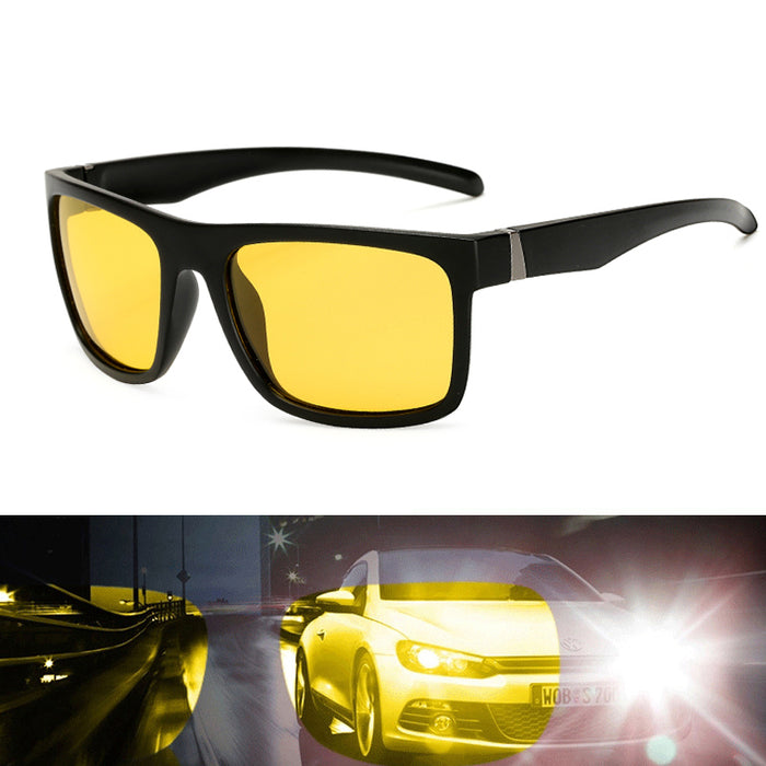 Mens Night Vision Sunglasses For Headlight Polarized Sun Glasses Driving Yellow Lens UV400 Protection Night Eyewear Long Keeper
