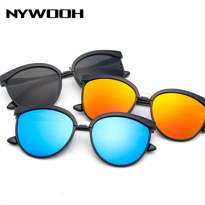 NYWOOH Vintage Cat Eye Sunglasses Women Luxury Mirror Sun Glasses UV400 Men Classic Brand Plastic Sunglass Shades for Ladies