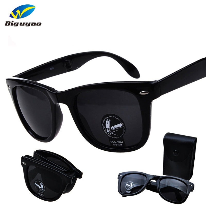 New Anti-reflection UV400 Fold Rivet Sunglasses Men Women outdoor Sun Glasses Lady Eyewear Contains a box oculos de sol
