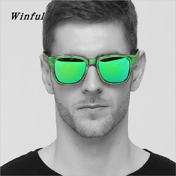 New Fashion Polarized sunglasses men Green Imitation wood grain sun Glasses HD Lens Driving Eyewear for man Travel gafas de sol