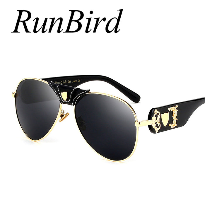New Fashion Sunglasses Metal Leather Decoration Frame Luxury Brand Designer Women Mirror Sun Glasses Men UV400 Shades 1013R