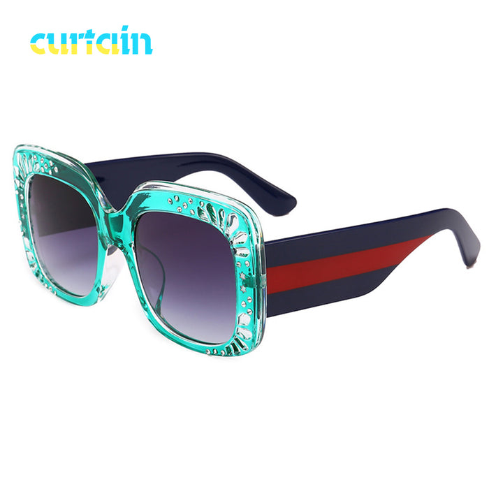 66693062cc New Oversize Square Frame Rhinestone Sunglasse trending women s fashion  eyewear Italy brand designer sun glasses female