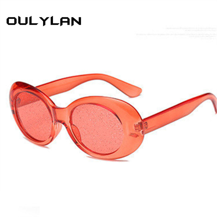 Oulylan Clout Goggles Round Sunglasses Women Vintage Oval Transparent Frame Sun Glasses Men NIRVANA Kurt Cobain Goggle UV400