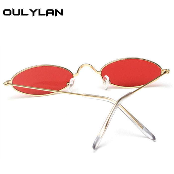 f595712f4af Oulylan Small Oval Sunglasses Men Women Retro Metal Frame Yellow Red  Vintage Tiny Round Skinny Male