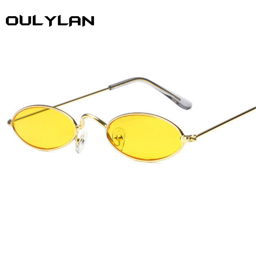 7766d8edef Oulylan Small Oval Sunglasses Men Women Retro Metal Frame Yellow Red Vintage  Tiny Round Skinny Male