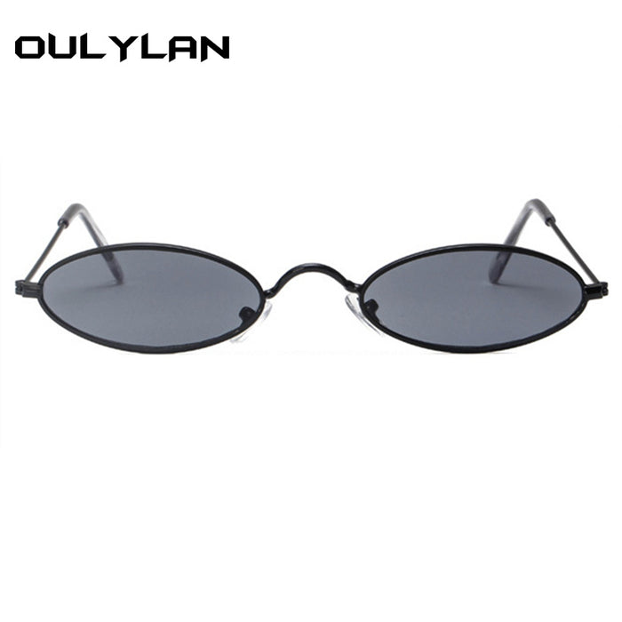 bfe1e0d77a Oulylan Small Oval Sunglasses Men Women Retro Metal Frame Yellow Red  Vintage Tiny Round Skinny Male