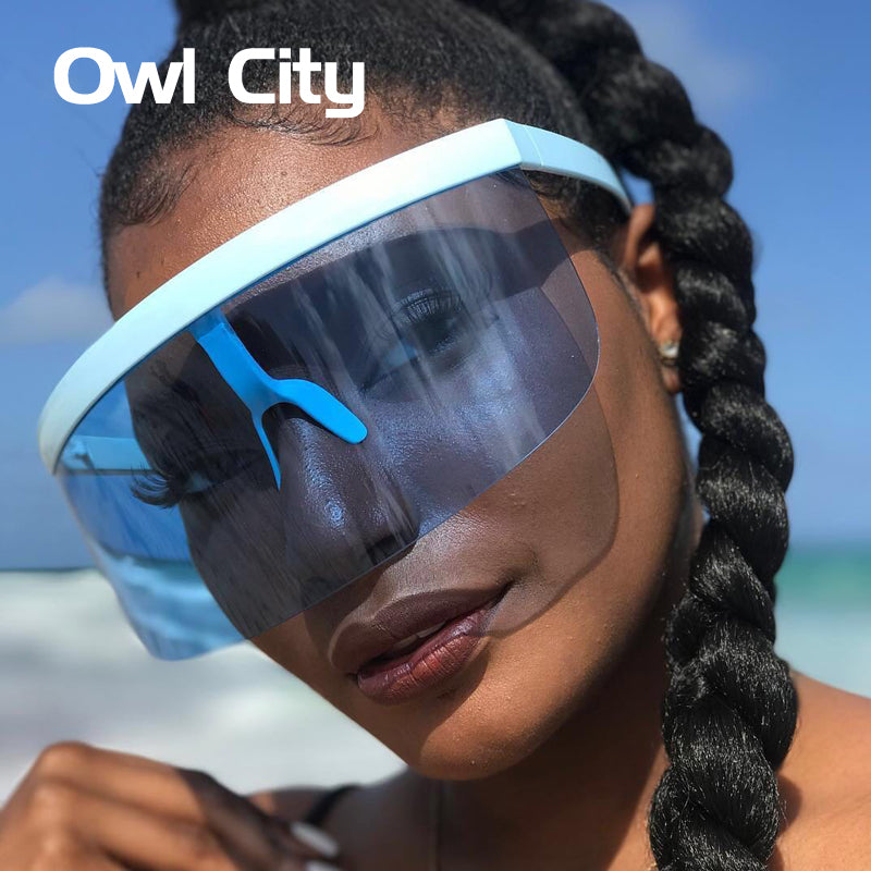 Oversized Semi-Rimless Sunglasses Women Men Futuristic Big Goggle Luxury Party Sun Glasses Fashion Trendy Festival Eyewear UV400