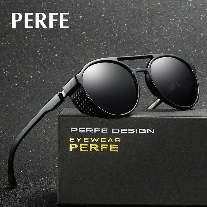 PERFE Fashion Brand Designer Vintage Personality HD Round Sun Glasses Hollow Steampunk Polarized Sunglasses For Men UV400-Proof