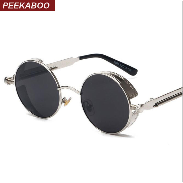 469b68a61d243 Peekaboo High quality retro women round sunglasses steampunk metal frame  vintage round sun glasses male female