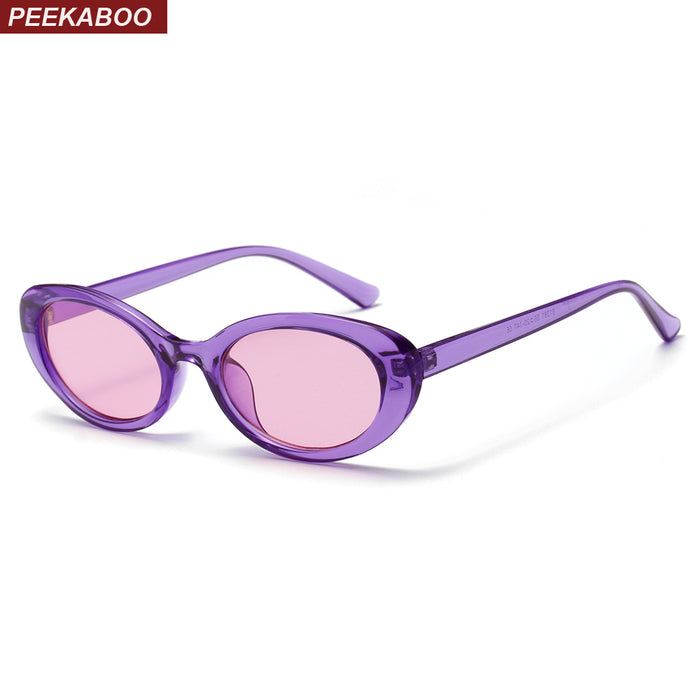 Peekaboo candy color sunglasses women purple orange pink summer accessories for beach fashion oval sun glasses for women retro