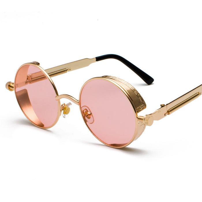Peekaboo metal round steampunk sunglasses men women fashion summer pink blue yellow red round sun glasses for women unisex