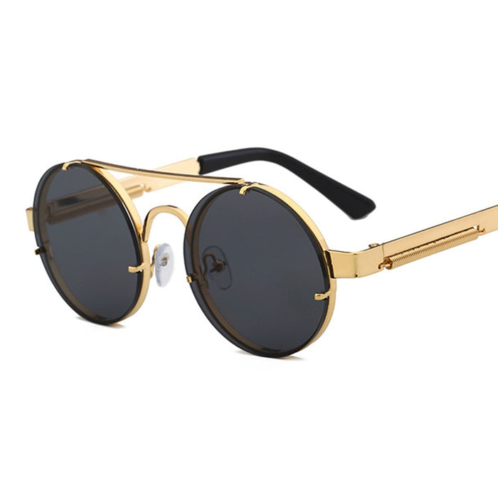 Peekaboo red lens sunglasses men round vintage steampunk sun glasses for women gold silver metal flat top uv400