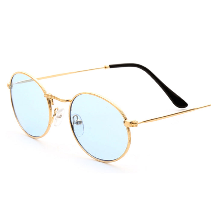 Peekaboo small oval sunglasses women red yellow blue green clear lens cheap sun glasses for men retro uv400 metal