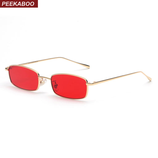 777bd5fd20 Peekaboo small rectangle sunglasses men red lens yellow 2018 metal frame  clear lens sun glasses for