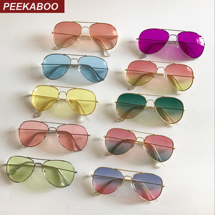 Peekaboo woman summer clear lens sunglasses cheap pink yellow metal women sun glasses for men flat top uv400