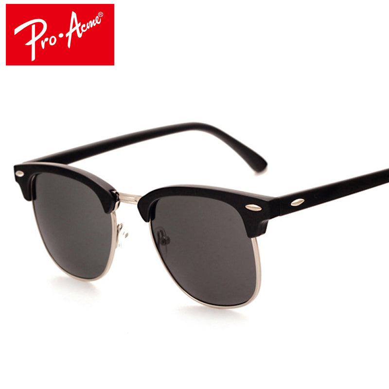 Pro Acme Classic Fashion Sunglasses Men Brand Designer Half Metal Mirror Sun Glasses Male Gafas De Sol UV400 CC0528