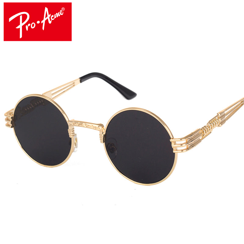 Pro Acme Metal Sunglasses Men Round Sunglass Steampunk Goggles Coating Sun Glasses Retro Lentes of Male CC0893