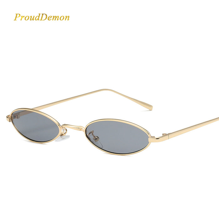 ProudDemon Women Retro Oval Small Sunglasses New Brand Designer Metal Frame Clear Round Sun Glasses For Female Red Oculos