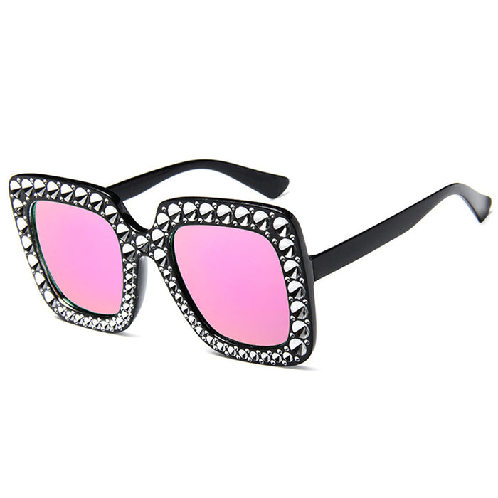 QETOU Luxury Diamond Square Sunglasses Women Brand Size Crystal Sun Glasses Ladies New Gradient Oculos Mirror Shades